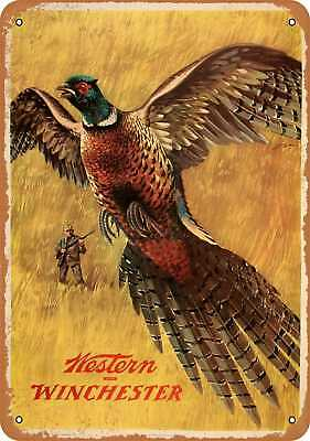 """7"""" x 10"""" Metal Sign - 1958 Western Winchester Pheasant - Vintage Look Repro"""