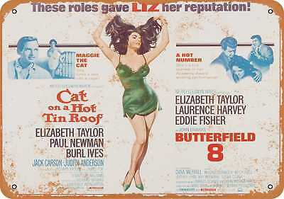 """7"""" x 10"""" Metal Sign - 1966 Cat on a Hot Tin Roof and Butterfield 8 Elizabeth Tay"""