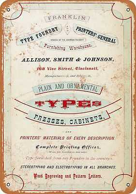 """7"""" x 10"""" Metal Sign - Franklin Type Foundry - Vintage Look Repro"""