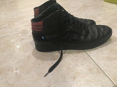 128fd3e34 Gucci Men's Black Leather Snakeskin High Top Sneaker 13G / 14 US