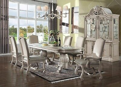 9 PIECE ANTIQUE White Formal Dining Set Kitchen Dining Table ...