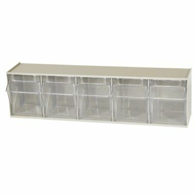 TiltView Horizontal Plastic Storage System Organizer with Five Tilt Out Bins Kit