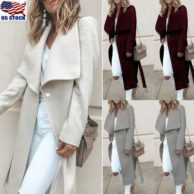 Womens Winter Wide Lapel Wool Coat Trench Jacket Long Parka Overcoat Outwear USA