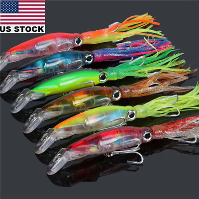 6pcs Octopus Squid Jig Fishing Lures Trolling Big Game Saltwater Lures Bait