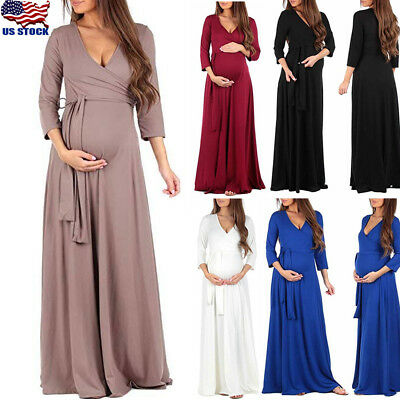 Pregnant Women Maternity Maxi Long Gown Wrap Dress Photography Props Gown Dress
