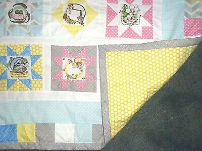 Pretty Gumnut Baby Cot Quilt In Pastel Colours - Handmade - Cotton Fabric