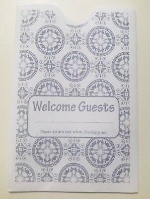 """Hotel Keycard Envelope/ Sleeve """" Welcome Guests"""" Gray 2-3/8"""" x 3-1/2"""" 500/Box"""