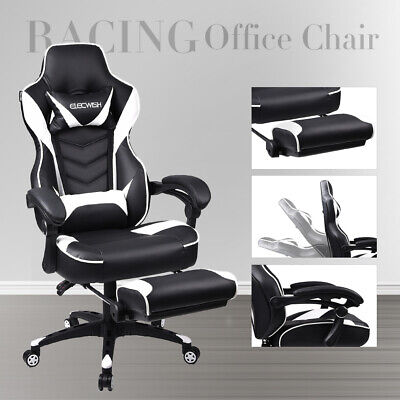 Racing Computer Executive Gaming Chair Massage High Back Footrest Office Seat UK