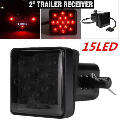 "2""Car Trailer Truck Hitch Towing Receiver Cover Red 15LED Brake Tail Light Tube"
