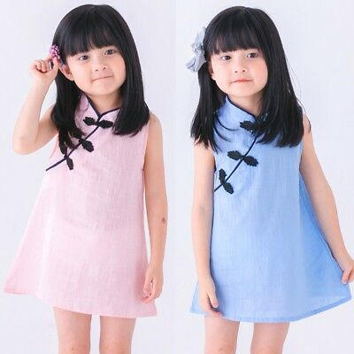 Summer Toddler Baby Girls Cheongsam Chinese Qipao Dress Sleeveless Sundress 0-5Y