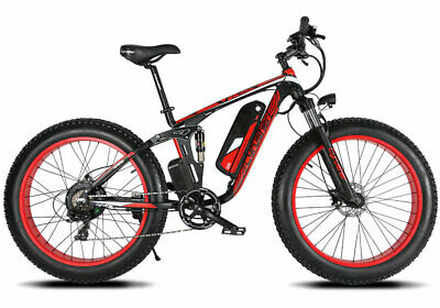 Cyrusher XF800 Red Electric Bike 7 Speed 1000W Lithium Battery Fat eBike