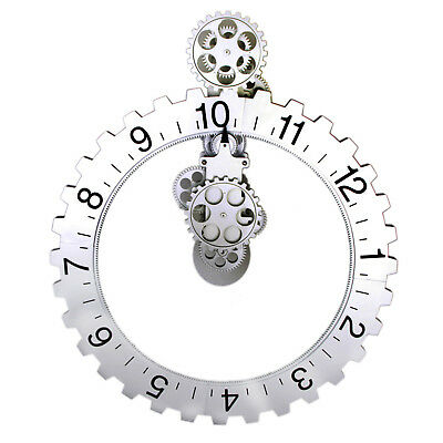 New Retro Modern Large Wall Gear Clock antique Vintage Brand New Silver 1pcs PDR