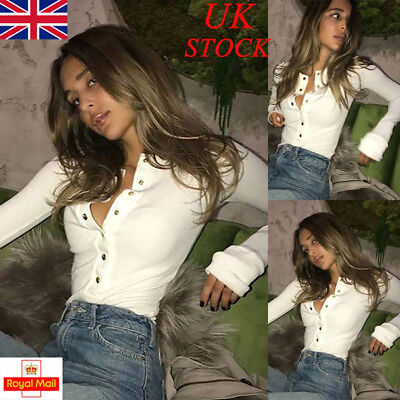 UK Womens V Neck Bodycon Button Blouse Ladies Long Sleeve T Shirt Tops Slim Fit