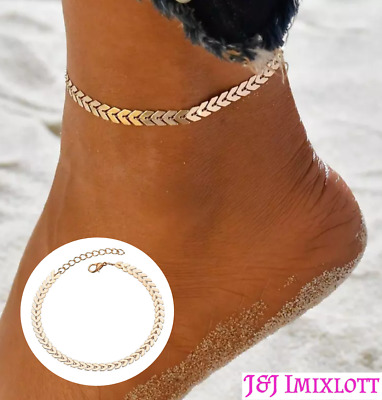 18Ct Gold Anklet Water Safe Hypo-allergenic Titanium Charm Jewellery