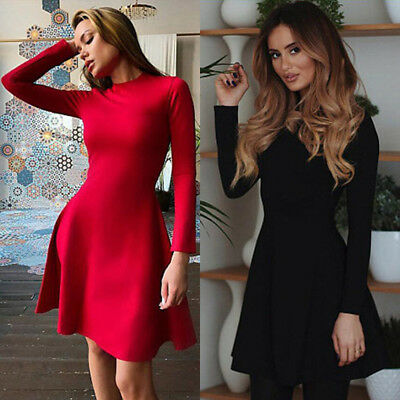 Women Party Cocktail Mini Dress Ladies Winter Long Sleeve Skater Cocktail Dress