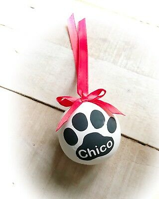 Rememberance, Personalised Christmas bauble for Pet, Ceramic bauble Pawprint