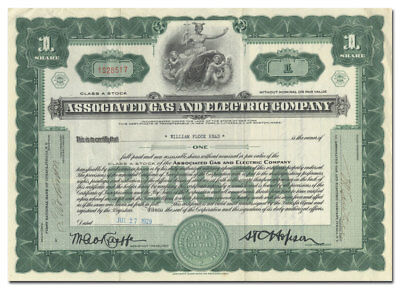 Associated Gas and Electric Company Stock Certificate (Neat Vignette!)