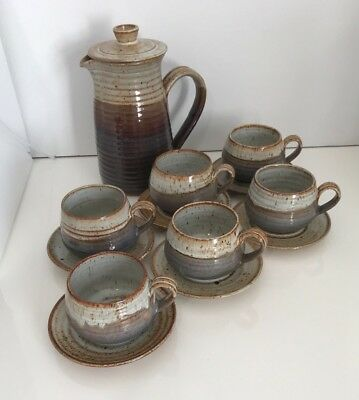 Vintage Rustic Set Comprising Coffee pot and 6 Coffee Cups and saucers