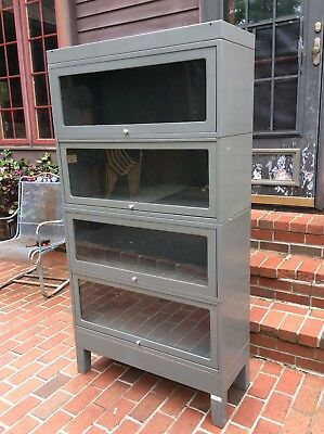 Vtg Globe Wernicke 4 Section Industrial Metal Barrister Bookcase W/ Top & Base