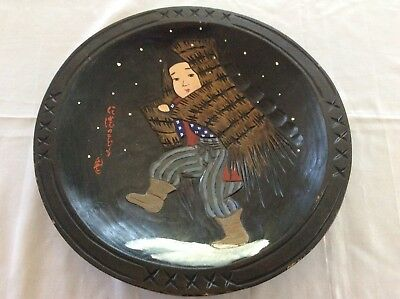 Antique Japanese Hand Carved / Painted Wooden Hanging Wall Charger..Signed