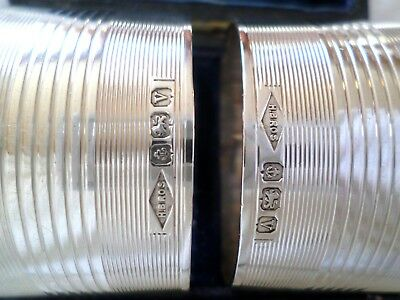 (2) Vintage H Brothers Sterling Silver Napkin Rings Birmingham England Case Box