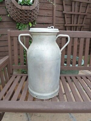 Vintage French Aluminium Milk Churn Complete With Lid