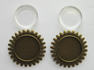 2 x Round Brooch Badge Setting Blanks 25 mm clear Cabochon Base Tray findings.