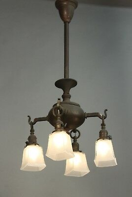 Arts & Crafts Mission Circa 1910 Brass Chandelier w/ 4 Glass Shades(11495)