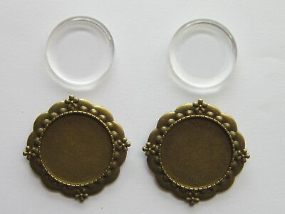 2 x Round Brooch Badge Setting Blanks 25 mm clear Cabochon Base Tray findings.,,