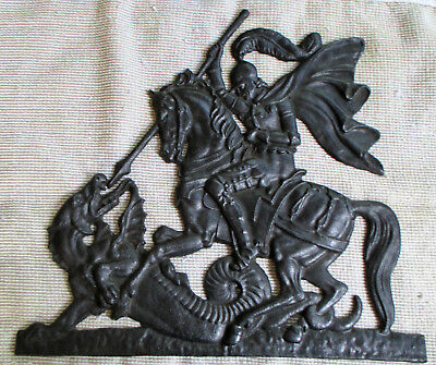 Antique CAST IRON Figural ST GEORGE & DRAGON Medieval KNIGHT & HORSE Wall PLAQUE
