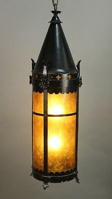 Antiqu eSpanish Revival English TudoTall Pendant Light  Lantern  Mica (11474)