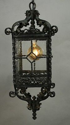 Antique Wrought Iron Forged Exterior Spanish RevivalTudor Light Lantern (11424)