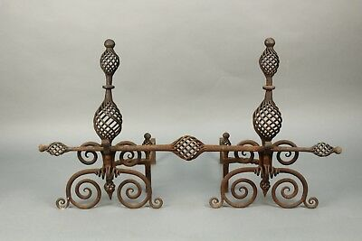 Pair Of 1920's Andirons With Great Wrought Iron Work (11464)