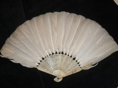 Chinese Canton 19C Feather Fan Eventail Abanico Facher For Spares Repair Qing