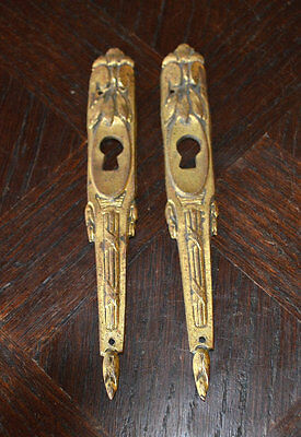 Antique Pair French Vertical Escutcheons Bronze Ormolu Art Deco Keyholes 6""