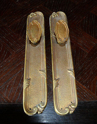 Antique Pair French Door Knobs Handle Set with Finger Backplates Brass Ormolu