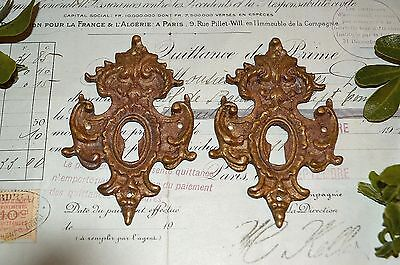 One Antique Large Bronze French Decorative Keyhole Escutcheon Two Available
