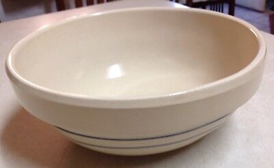 Vintage Ceramic Mixing Serving Bowl Cream With Blue Stripes Signed