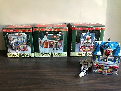 LOT of 3 Coca Cola Town Square Collection Christmas Buildings Theater Gas Barber