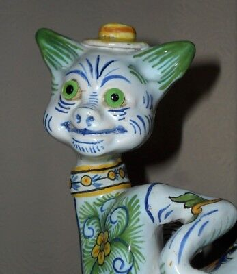 RARE, French Faience Mosanic Cat with glass eyes c. 1900  Louis Wain Style