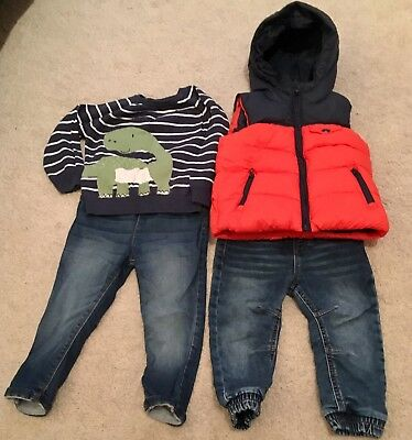 34f9515d0 9-12 MONTHS BOYS Bundle Dinosaur Grey Dungarees Nemo Mickey charcoal ...