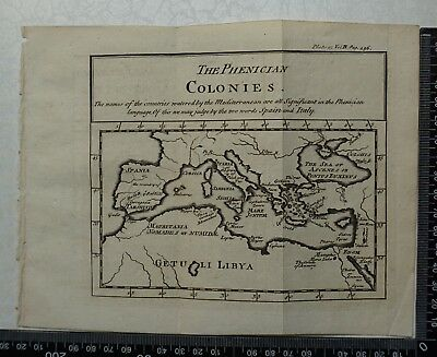 1776 Pluche - Engraving of The Phenician Colonies - Mediterranean, Italy,Spain