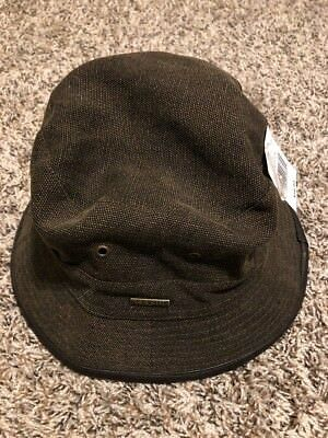 bc93f509161 New Stetson Mens Canvas Bucket Hat Micro Fleece Lined Leather Trim Brown  Medium