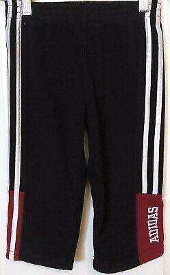 VTG 90s ADIDAS 3-Stripe SpellOut FLEECE Track Pants Sweatpants HIPHOP Black 2T