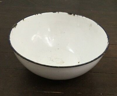 Vintage Enamel Metal Bowl Basin White Blue Rim 8 Inch Farm House