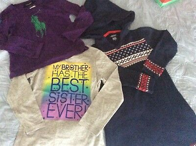 lot of3 girls items size 5 Nautica dress NWT 2 shirts are used condition