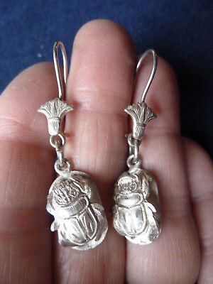 Antique Vintage Sterling Egyptian Revival Beetle Scarab Earrings Pierced