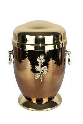 Steel Cremation Urn for Adult Unique Memorial Funeral urn for Human Ashes (Rose)