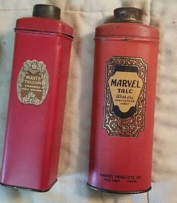 Vintage  Tall Talc Tins Marvel Mavis Paris New York 2 Pieces