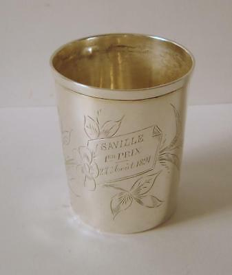 An Antique French Solid Silver Beaker 56 gms Circa 1891